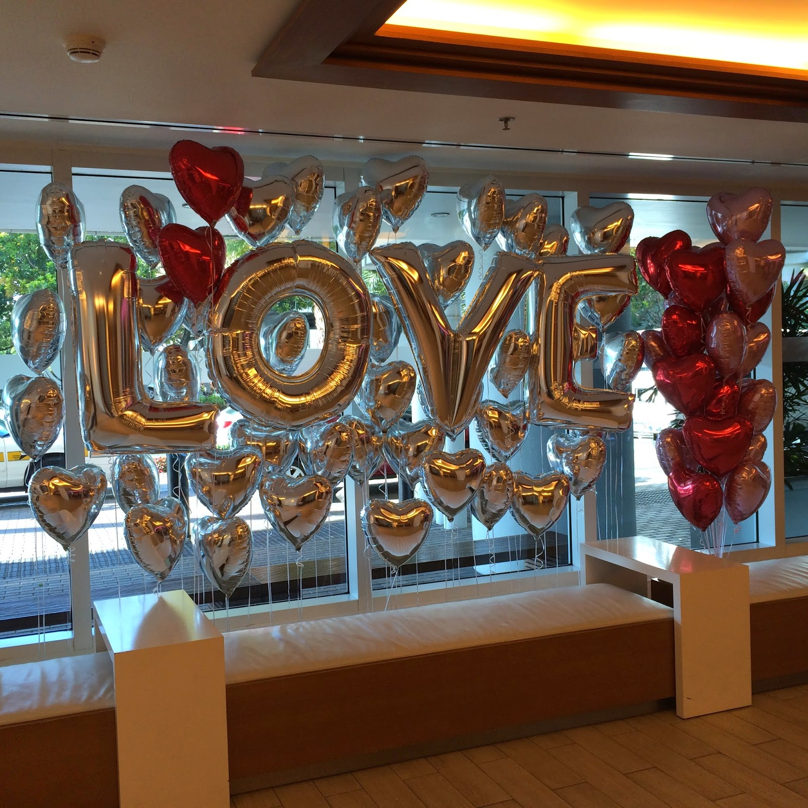 Hearts and Love balloons wall for Valentine's Day