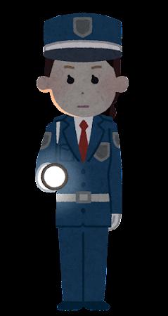 懐中電灯を持つ警備員のイラスト(女性・暗闇)
