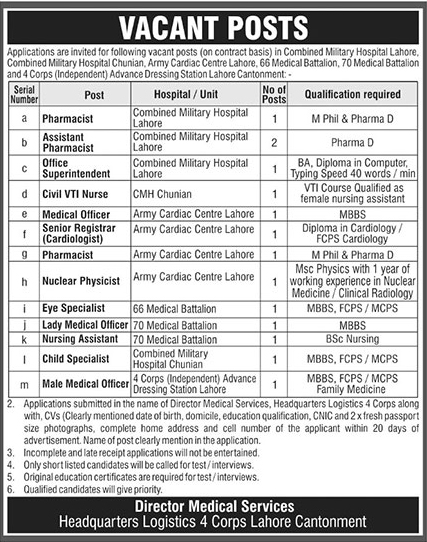 CMH Lahore Jobs 2019 Combined Military Hospital