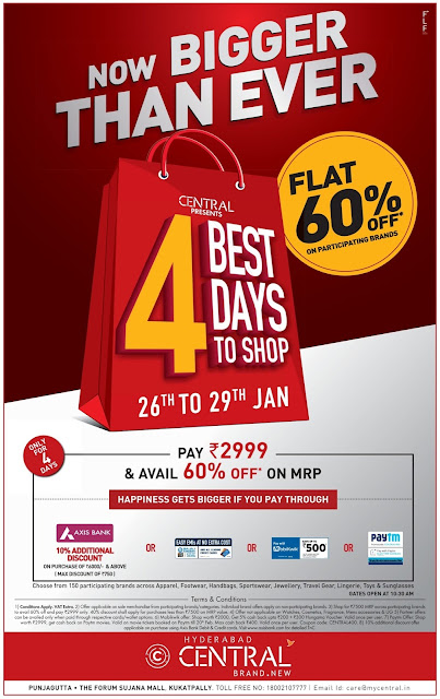 Flat 60% off in Central | January 2017 republic day discount offer