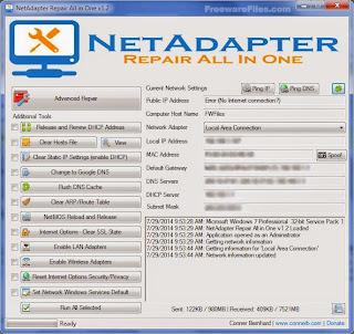 معالج مشاكل الشبكات NetAdapter Repair All In One 1.2