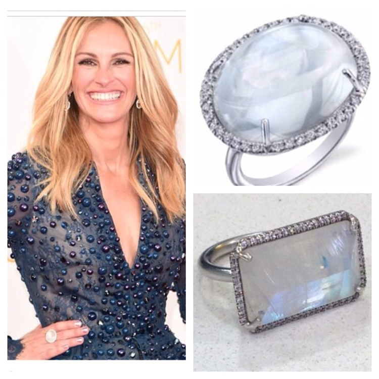 Moonstone is one of the birthstones for June. Actor Julia Roberts dazzles in blue moonstone rings