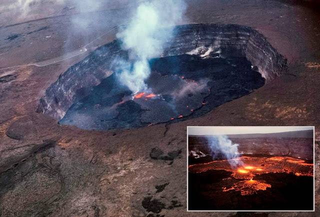The lava lake in the summit crater of Hawaii's Kilauea volcano has been rising in recent