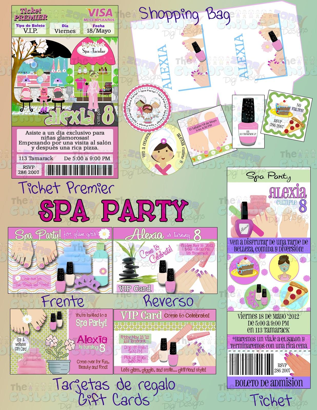 The Childrens Zone Digi Designs Invitaciones Spa Party