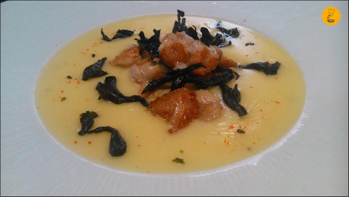 Mollejas de cordero con cremoso de patata y crujiente de trompeta de los muertos Restaurante Tres Bocas Madrid