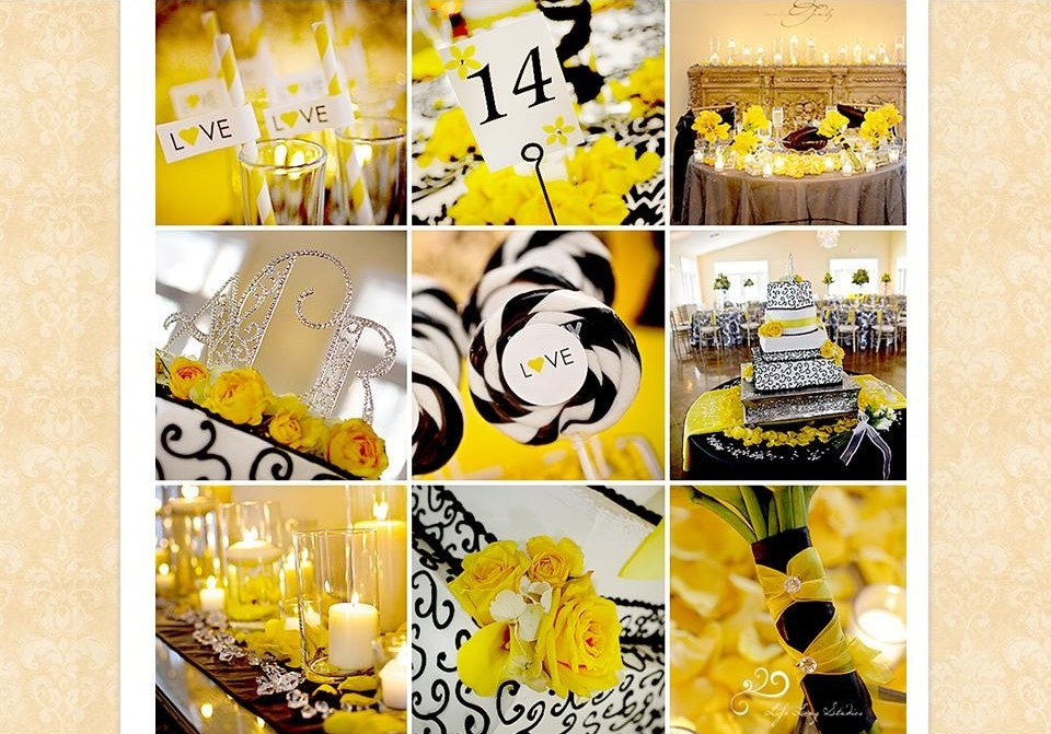 Ally Ryan S Wedding Has Been Featured On The Life Long Studios Blog Black Yellow And White Lily Centerpieces