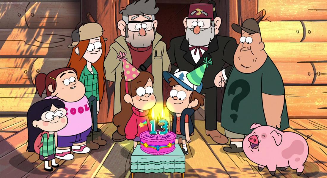 El grupo de protagonistas de Gravity Falls
