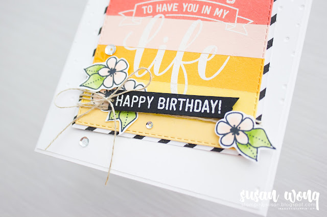 Amazing Life Stamp Set by Stampin' Up! - Colour-block birthday card by Susan Wong
