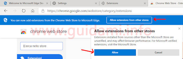 Notifica Microsoft Edge su Chrome Web Store abilitato per installare estensioni Google Chrome