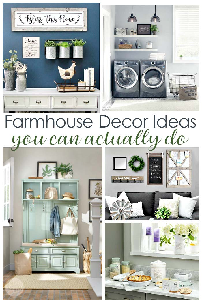 Farmhouse decor made easy with these ideas! Farmhouse style doesn't have to be pricey - you can get farmhouse design with these farmhouse kitchen ideas, farmhouse living room decor, farmhouse wall decor, and more farmhouse decor ideas. #sponsored #HomeDepotPartner #farmhouse #homedecor #farmhousestyle