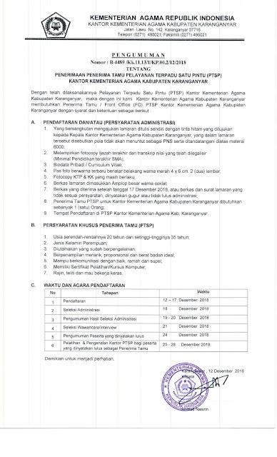 Lowongan Kementerian Agama Kabupaten Karanganyar Desember 2018