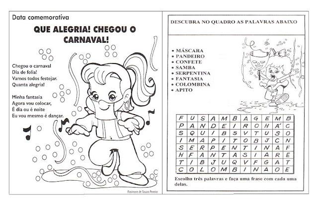 Confira um texto curto sobre o Carnaval e uma atividade de Caça-Palavras
