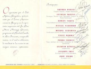 Firmas de los ajedrecistas participantes en el I Torneo Nacional de Ajedrez Berga 1950