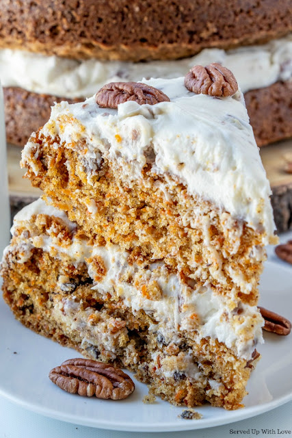 Carrot Cake recipe slice from Served Up With Love