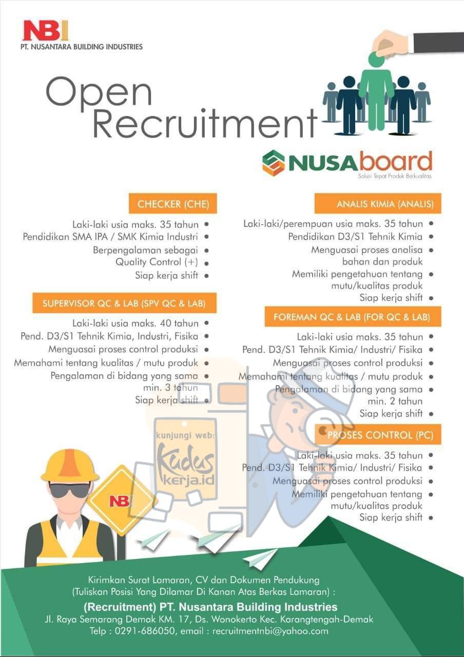 Lowongan Kerja Demak Checker, Supervisor, Foreman, Analis di PT. Nusantara Building Industries