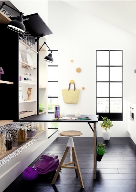 cocina con muebles inteligentes, mesa desplegable en la cocina