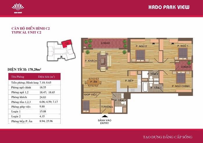 căn hộ C2 ( 178,28m2 ) chung cư Hà Đô Park View Dịch Vọng