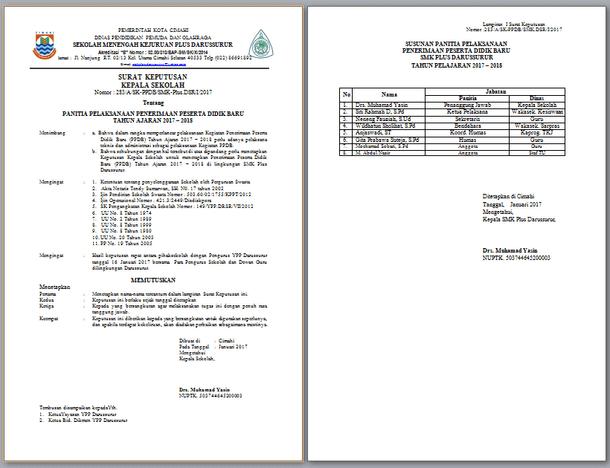 Contoh SK Panitia PPDB 2017-2018 untuk SD SMP SMA