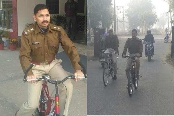 साइकिल से आफिस पहुंचे SP साहब, बोले स्वस्थ रहता हैं शरीर