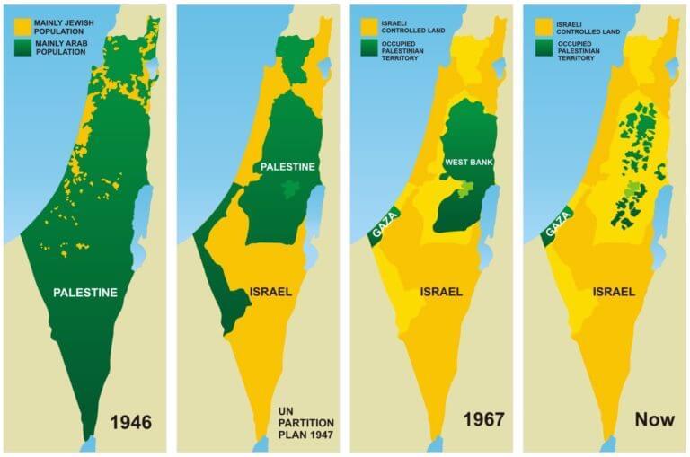 Negara Palestin sebelum dan selepas negara Israel