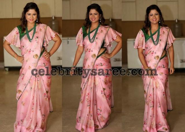 Shilpa Chakraborthy Baby Pink Saree