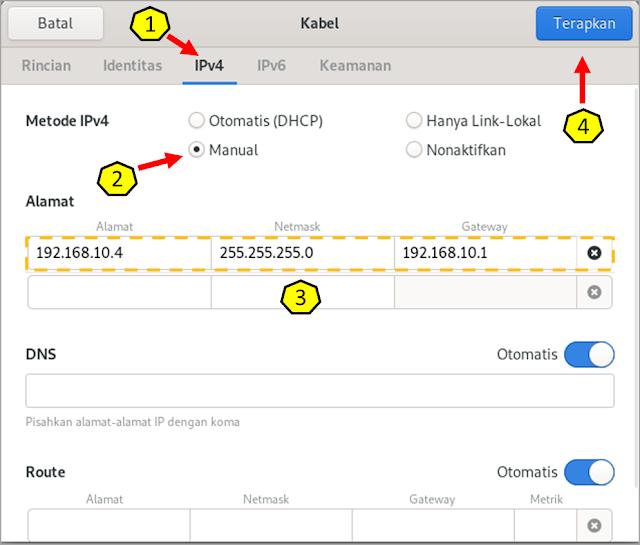 Mengatur konfigurasi IP, Netmask dan Gateway