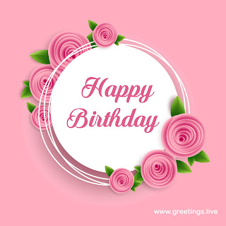 happy birthday greetings with pink flower decoration.