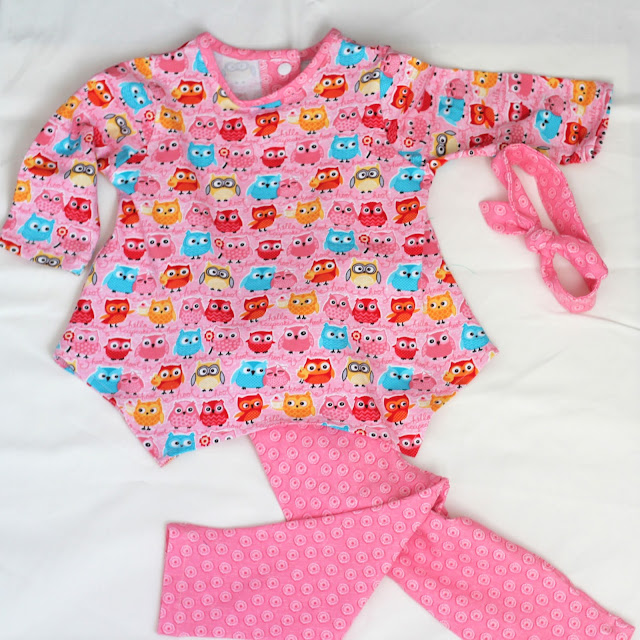 McCall's 7677 baby outfit in Riley Blake knit