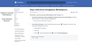 Halaman Bantuan Tidak Bisa Akses Marketplace Facebook Versi Desktop Browser