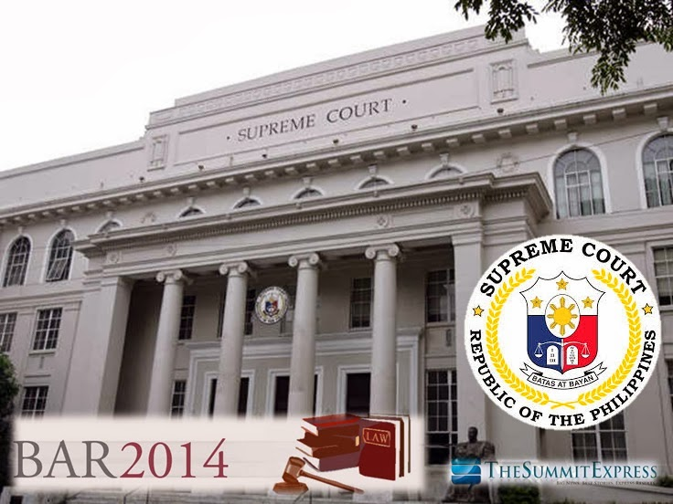 Philippine Bar Exam 2014 coverage of exam, schedule