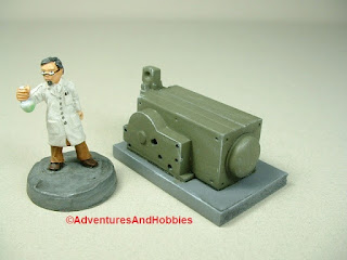 Small scale power generator designed for 25-28mm war games and role-playing games - type 4 - front view.