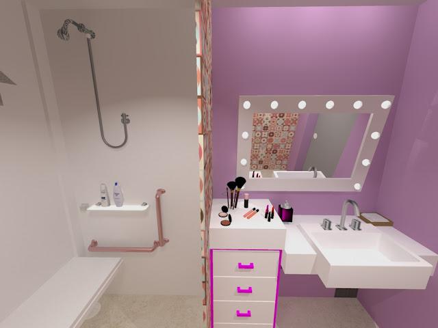 hoje o post é de um projeto de interiores que eu vou entregar hoje, isso mesmo, hoje! É um banheiro adaptado para uma menina que tem ossos de vidro.