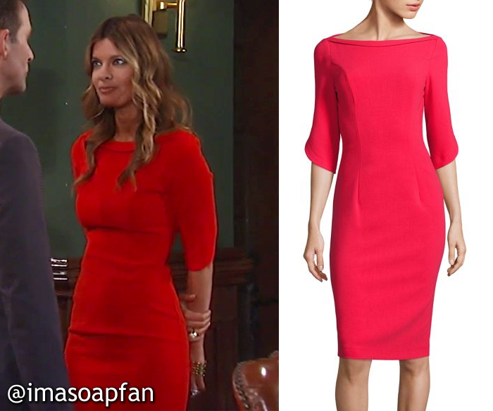 Nina Reeves, Michelle Stafford, Red Sheath Dress with Petal Sleeves, Black Halo, GH, General Hospital