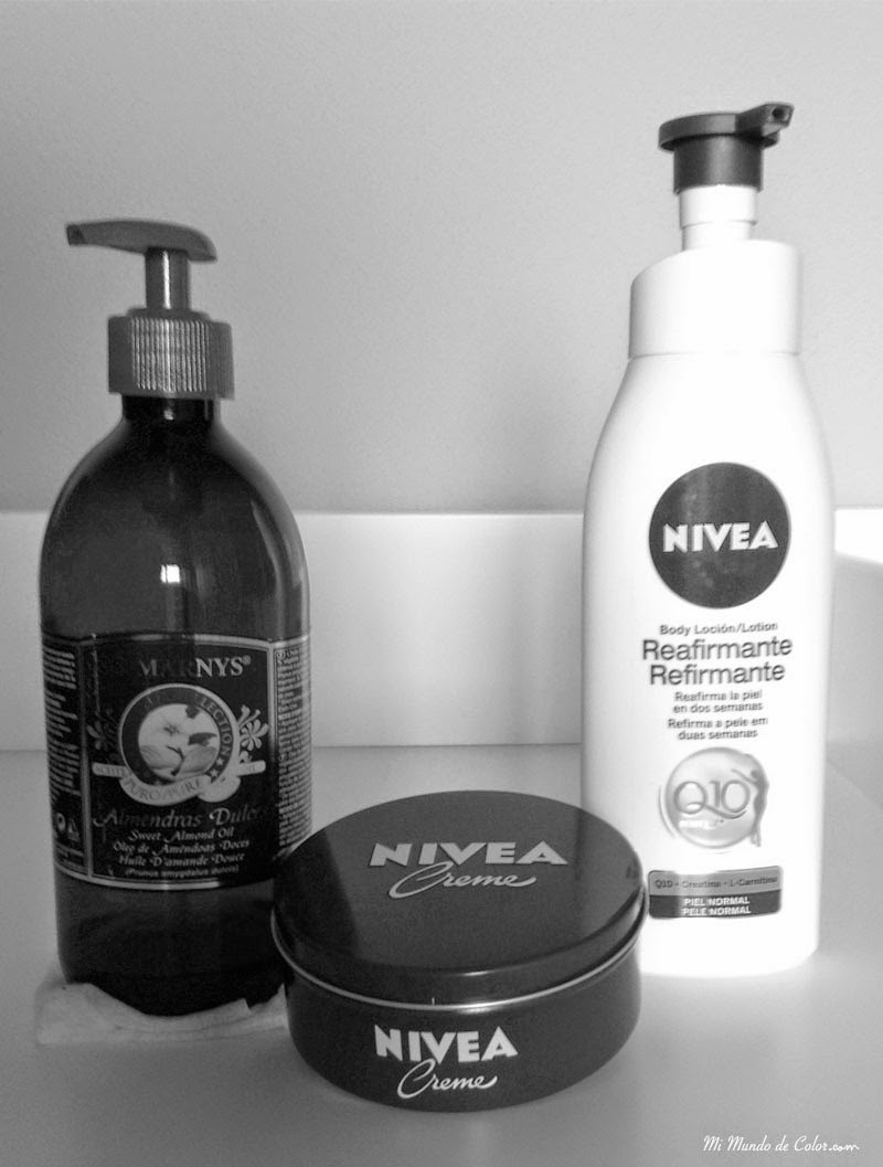 nivea cream, nivea q10 and almond oil