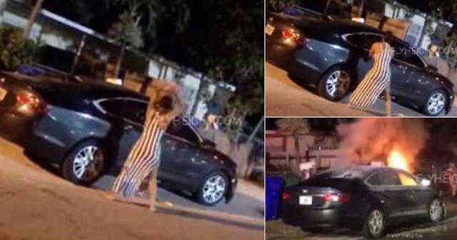 Η στιγμή που απατημένη γυναίκα βάζει φωτιά στο αυτοκίνητο του πρώην της