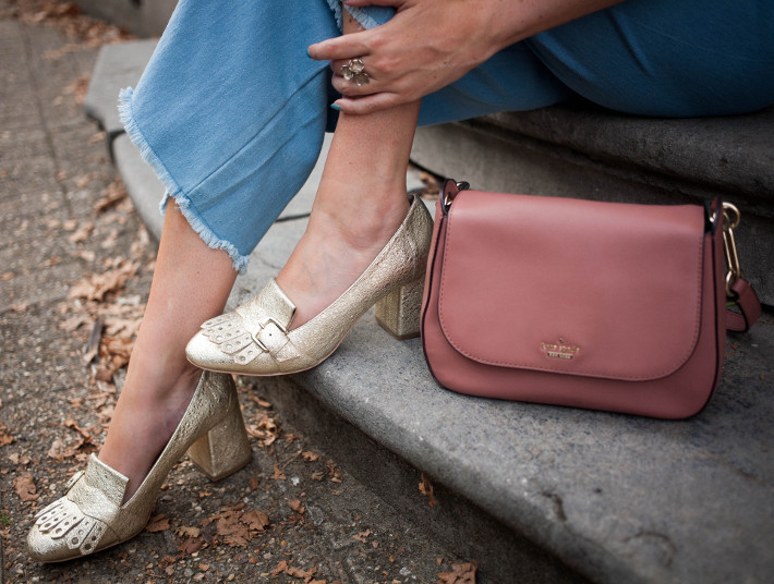 Outfit: gucci inspired gold loafer pumps, pink kate spade bag