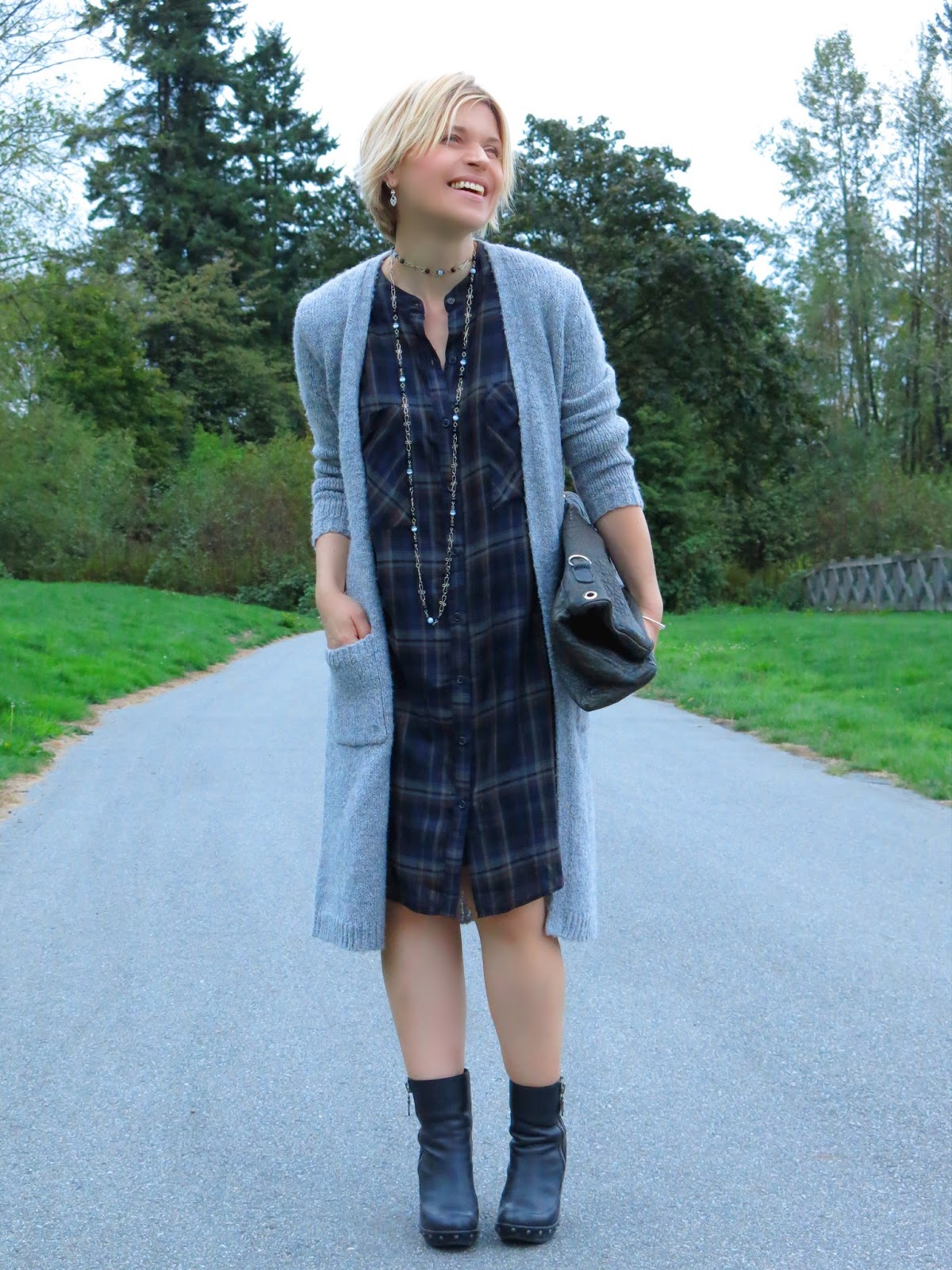 styling a plaid shirtdress with a long cardigan and chunky booties