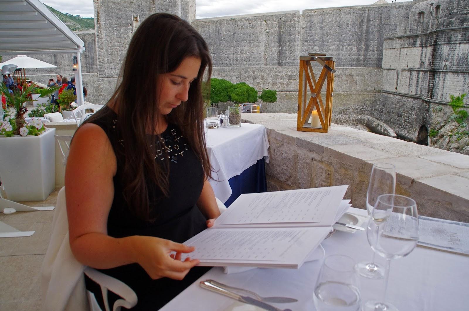 Looking at menu Nautika Restaurant Dubrovnik