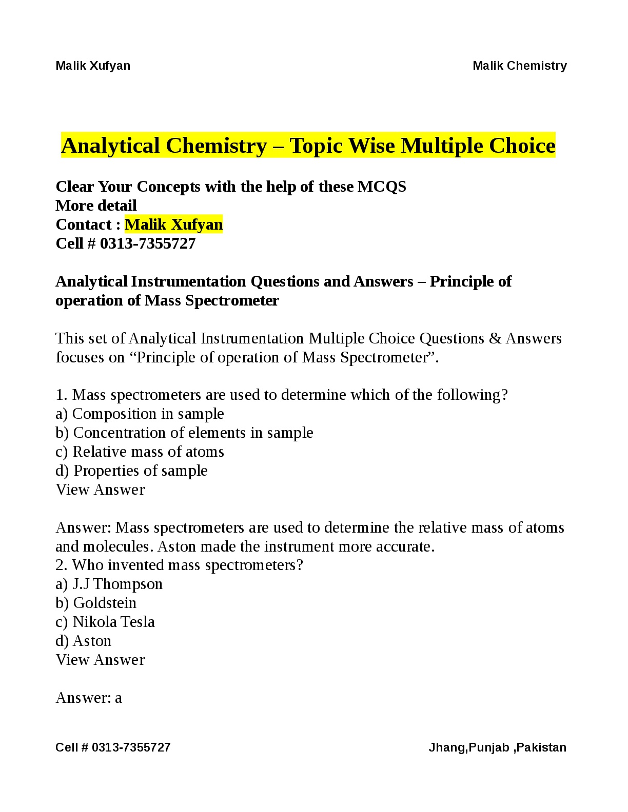 Analytical Chemistry Multiple Choice Questions By Malik Xufyan