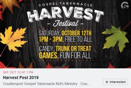 10-12 Harvest Festival, Coudersport Gospel Tabernacle
