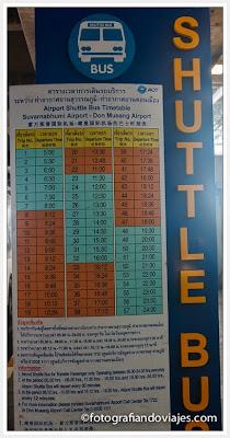 horario autobus entre aeropuertos de Bangkok