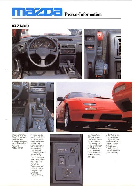 Mazda RX-7 FC, broszura, wnętrze