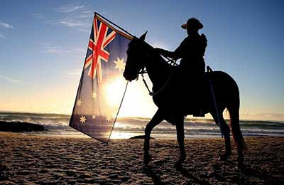 anzac day horseman with flag