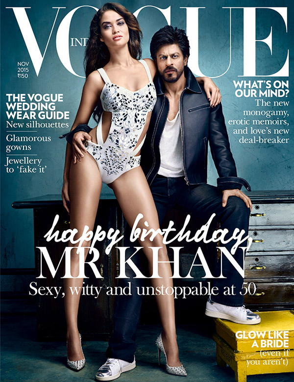 Shanina Shaik and Shah Rukh Khan cover Vogue India November 2015