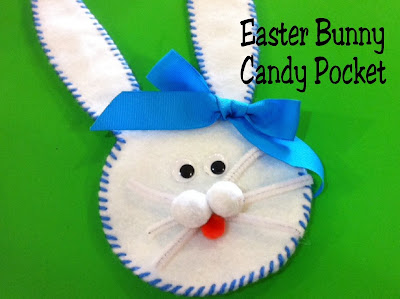 Add a fun little Easter bunny to your Easter baskets with this felt candy holder.  This Easter bunny is so cute and filled with yummy Easter candy, you almost won't want to give him away. #easter #easterbasket #easterpartyfavor  #diypartymomblog