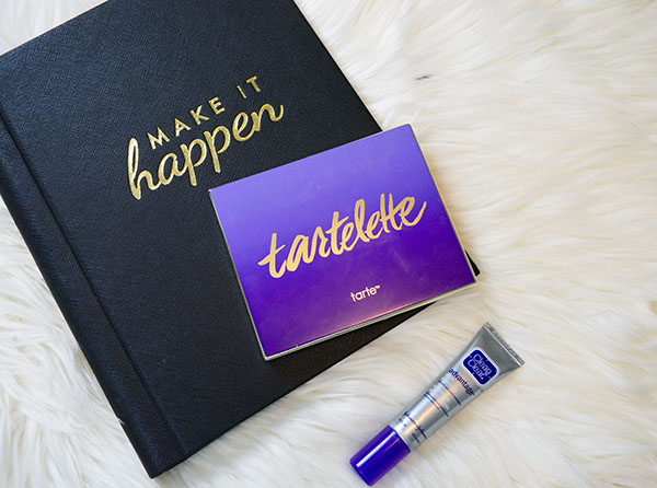 Product shot of September beauty favourites Tarte Tartlette eyeshadow palette and clean and clear advantage acne treatment