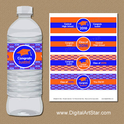 personalized printable graduation 2016 water bottle labels in orange and royal blue