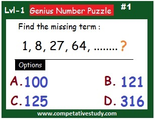 math puzzle: Find the missing term: 1,8,27,64....?