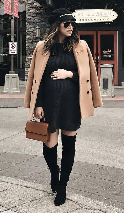nude and black | coat + hat + bag + sweater dress + over knee boots