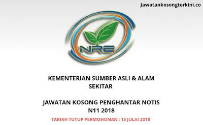 Jawatan Kosong Penghantar Notis N11 (Kementerian Sumber Asli & Alam Sekitar)